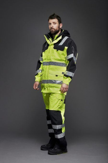 Superior bibtrouser and parka in HiVIs Yellow, the ultimate weather protection from VIiking Rubber Co.